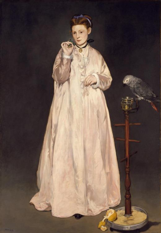 Édouard Manet (1832-1883)  Jeune dame en 1866, dite aussi la femme au perroquet - 1866, huile sur toile. New York, The Metropolitan Museum of Art