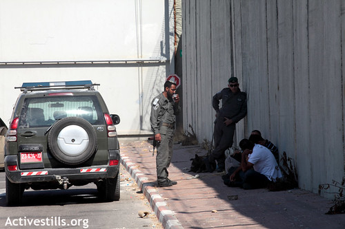 Palestinian men detained by Israeli Border Police on the last Friday in Ramadan 17 Aug 2012