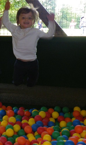 Jumping in the ball pit at Bowood