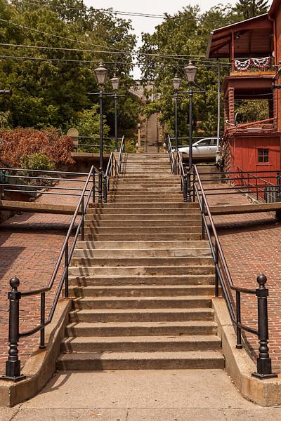 Steps Conquer Hillside, Main Street, Galena Illinois