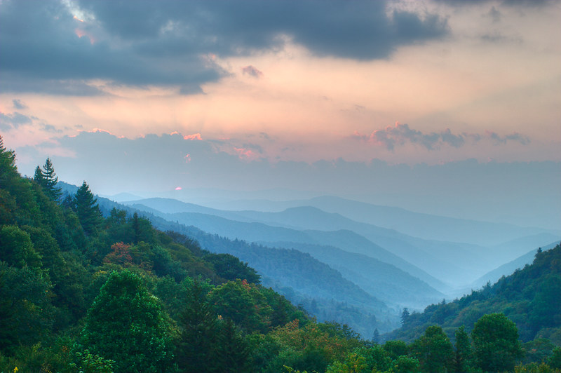 Top 10 US National Parks: Layered sunrise in Great Smoky Mountains