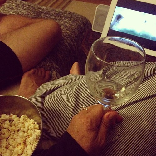 Popcorn, prosecco, and Potter :) We finally are reading the HP series and it's so fun to watch the movies again.