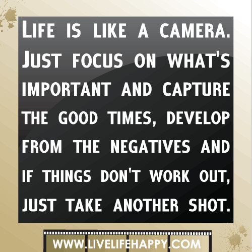 Motivational Inspirational Quotes: Life Is Like A Camera. Just Focus On What's Important And