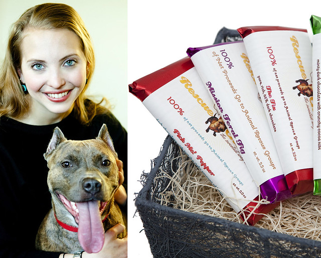 Sarah Gross, owner of charitable chocolatiers Rescue Chocolate, with her dog Mocha. Photos by Jessica Mahady.