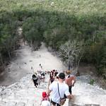 Descending Coba Pyramid - Riviera Maya, Mexico