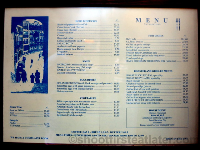 Restaurante Botin English menu