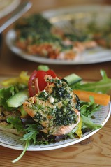 Herb marinated salmon belly salad