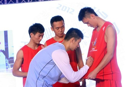 September 3rd, 2012 - Jeremy Lin signs the jerseys of winners of the 2011 KFC-China 3-on-3 tournament