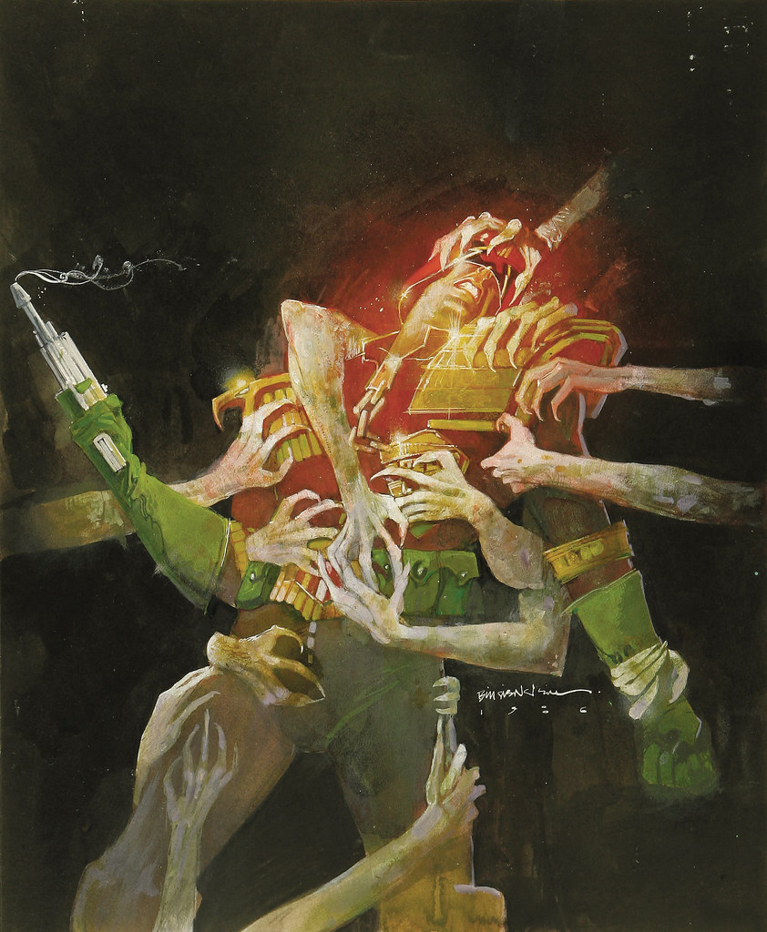 Bill Sienkiewicz - Judge Dredd - City of the Damned Graphic Novel Cover Original Art (Titan, 1986)
