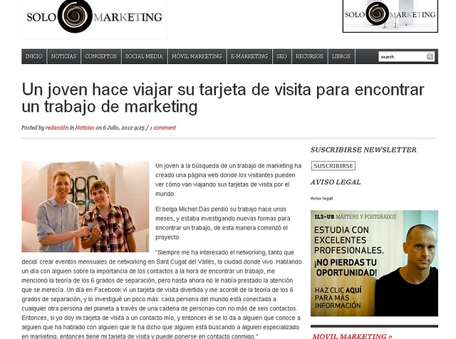 Noticia en Solo Marketing - SoloMarketing.es (06.07.2012) - castellano