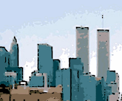 New York Skyline with Twin Towers (Digital Woodcut) by randubnick