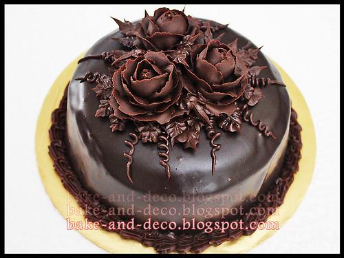 Moist Choc Cake with Choc Roses
