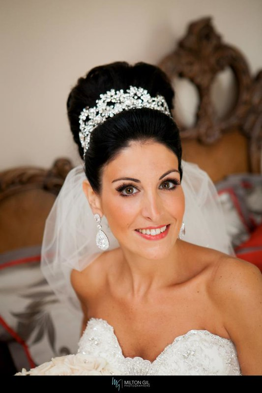 crystal encrusted bridal headband, CZ drop earrings, crystal scattered bridal veil