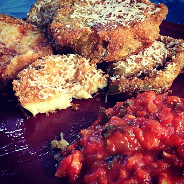Panko crusted eggplant, zucchini, & green tomatoes w/ spicy tomato relish #gardenlove