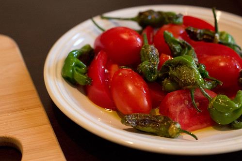 Padron peppers and cherry tomatoes