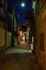Alley, Moon, and Stars