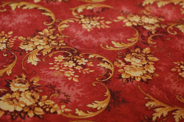 Patterned red carpet at Nationalmuseum in Stockholm, Sweden
