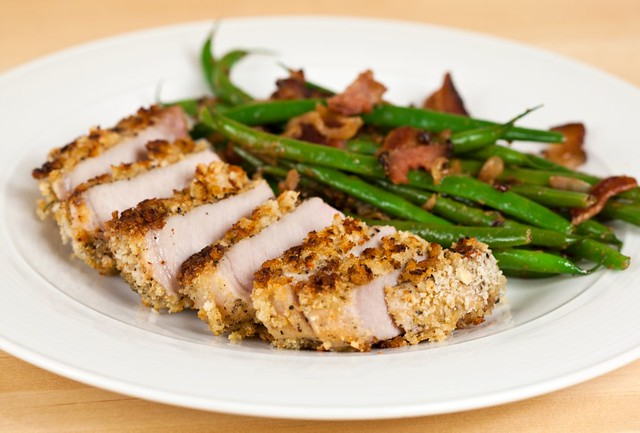 Panko-Crusted Pork Chops with Bacon-Dijon Green Beans