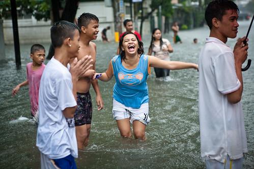 Typhoon Saola floods Manila.