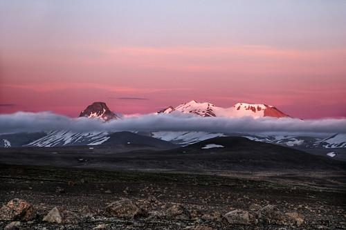 iceland kjölur kerlingafjöll mountain highland gravel sunset sky cloud nature
