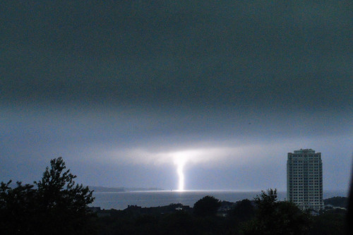 Morning lightning near Carnegie Abbey on Narragansett Bay in Portsmouth, Rhode Island. by robert.rinkel