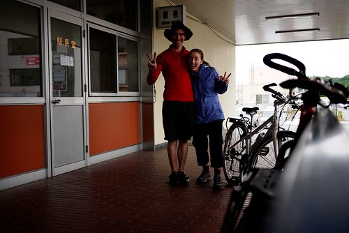 A happy duo at Abashiri Station, Abashiri, Hokkaido, Japan