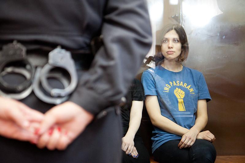Надежда Толоконникова из Pussy Riot в суде. Приговор два года.