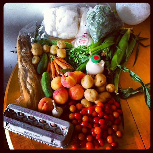 Lowell Farmers Market bounty: eggs, tomatoes, onions, garlic, peaches, cucumbers, bread, potatoes, MAPLE COTTON CANDY, cheese, basil, corn, Grade B syrup. I was basically hemorrhaging money dollahs while I was there!