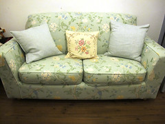 textile, furniture, loveseat, room, living room, couch, studio couch,