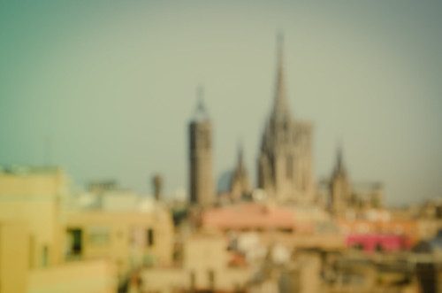 Barcelona Cathedral blurred in sunshine