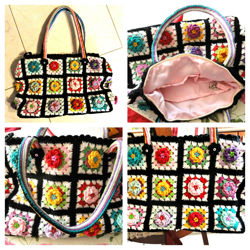 Crochet Granny Square Tote Bag Pattern : My new granny square flowering bag Flickr - Photo Sharing!