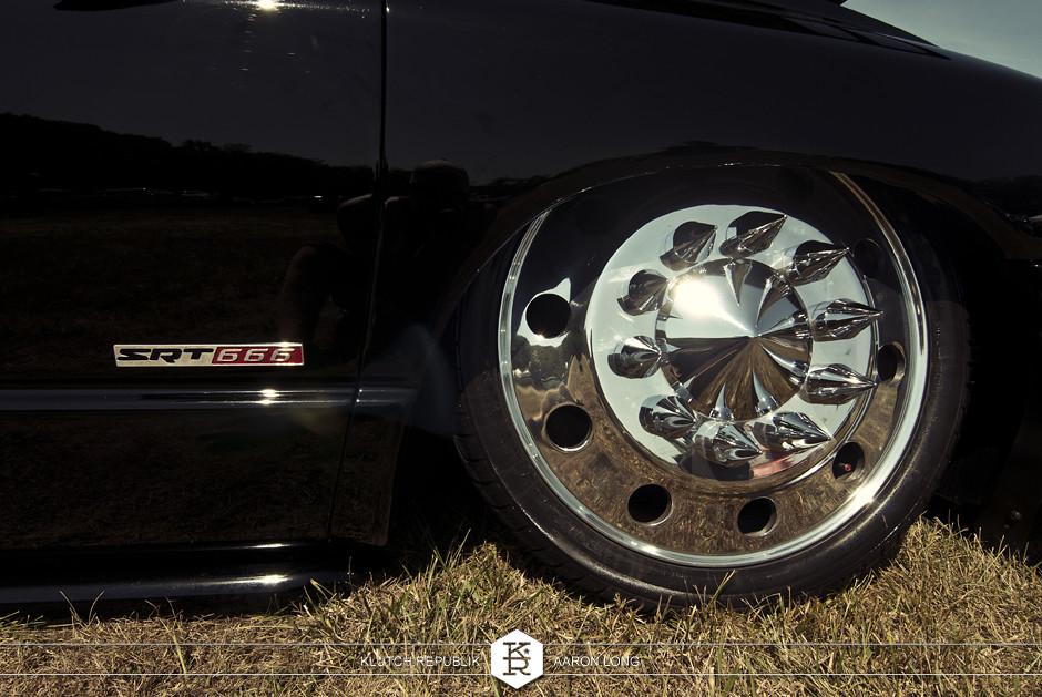 black dodge 3500 bagged dually  semi wheels  at camp n drag 2012 seen on klutch republik