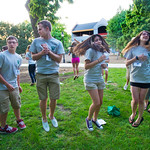 12-021 -- After the Convocation, new students joined their orientation groups for some ice breakers.