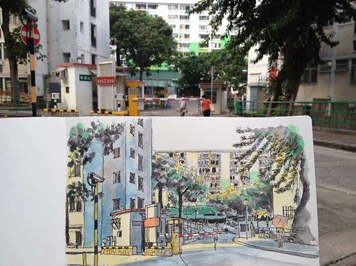 Sketching at Tai Hang Sai Housing Estate 斜陽下的大坑西新邨