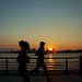 Jogging in sunset