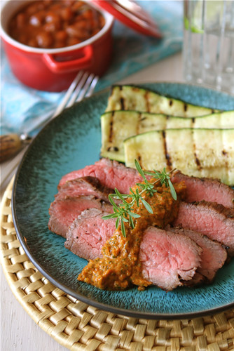 Grilled Marinated Tri-Tip Steak Recipe with Red Pepper Cilantro Pesto {Giveaway}
