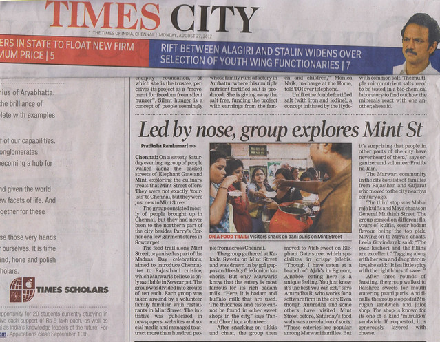 Mint Food Trail, Chennai Street Foods