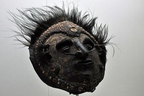 Over-modelled mask on turtle shell, Lower Sepik, PNG