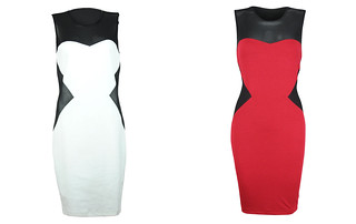 Color Blocking Dress with Mesh Red white 1795