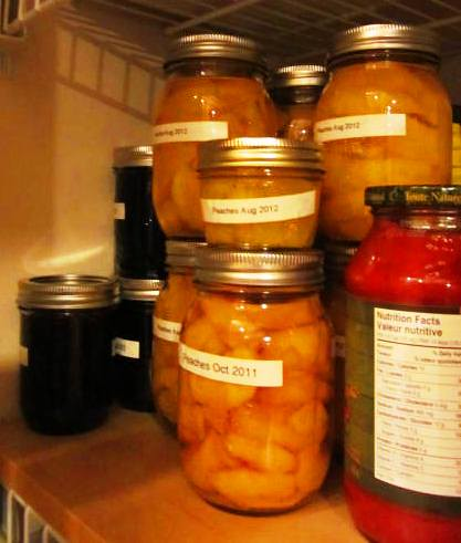 Home canned peaches and homemade blueberry jam