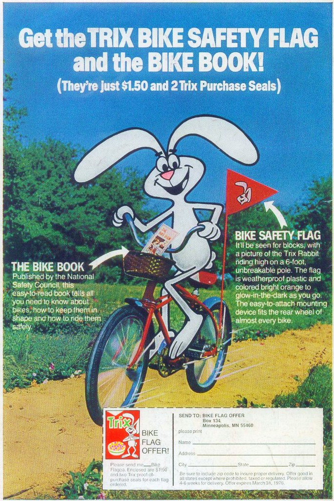 Trix rabbit bicycle safety comic book ad 1975