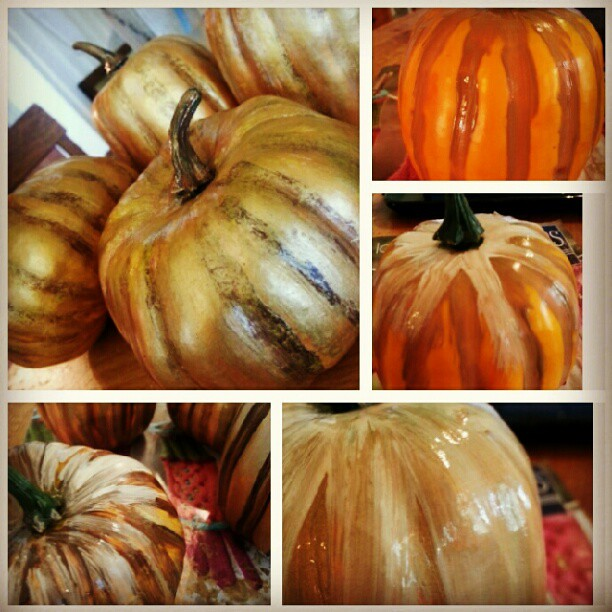 Ugly #dollarstore pumpkins to #potterybarnhacks pumpkins
