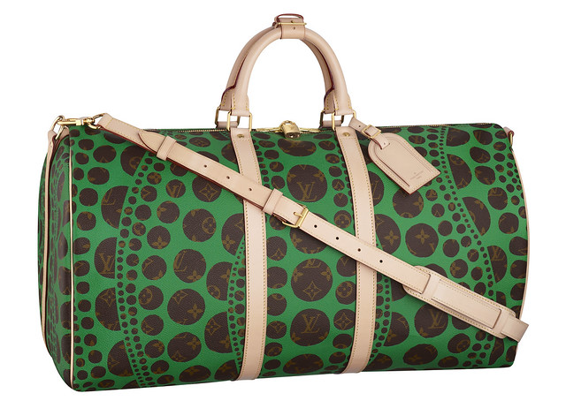 Keepall 55 Bandouliere Monogram Pumpkin Dots green