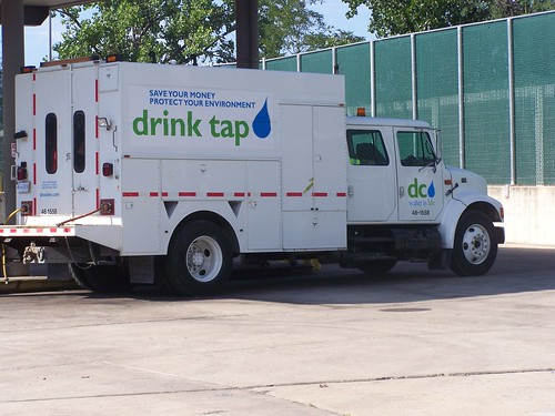 "DC Water Authority truck branded with their ""drink tap water"" campaign"