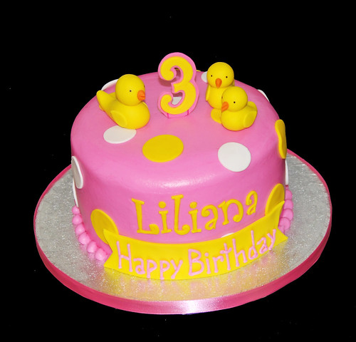 3rd birthday yellow and pink rubber ducky cake