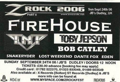 09/24/06 Firehouse/ T'N'T/Toby Jepson/Bob Catley @ JB's, Dudley, UK