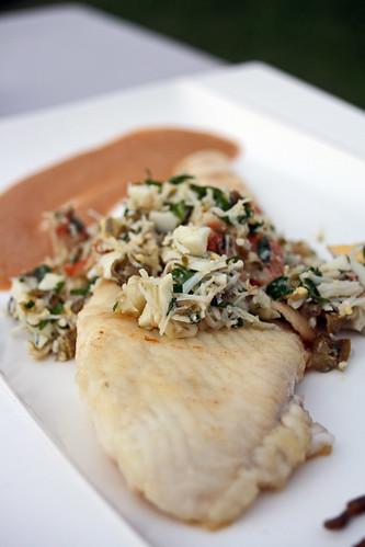 Carrelet sauce au crabe