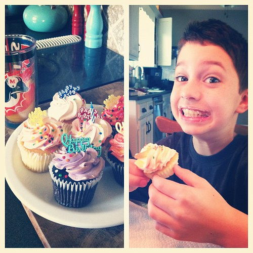 Dessert and orange juice for breakfast per the birthday boy's request. Happy 10th birthday Aidan!!! #mybabyboy #doubledigits