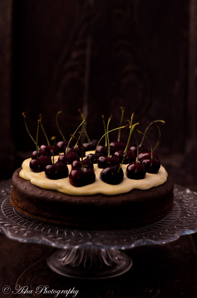 Chocolate Torte, Orange curd & Cherries