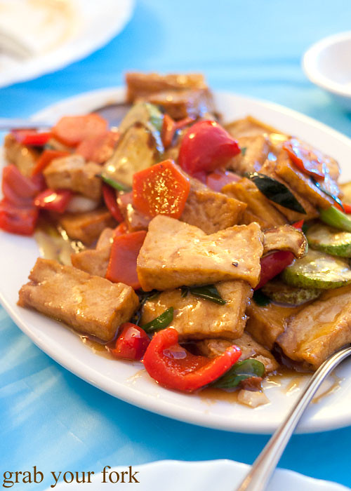 stir fried tofu and vegetables at Berezka Restaurant, Russian Club, Strathfield